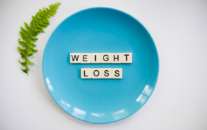 a blue weight loss plate